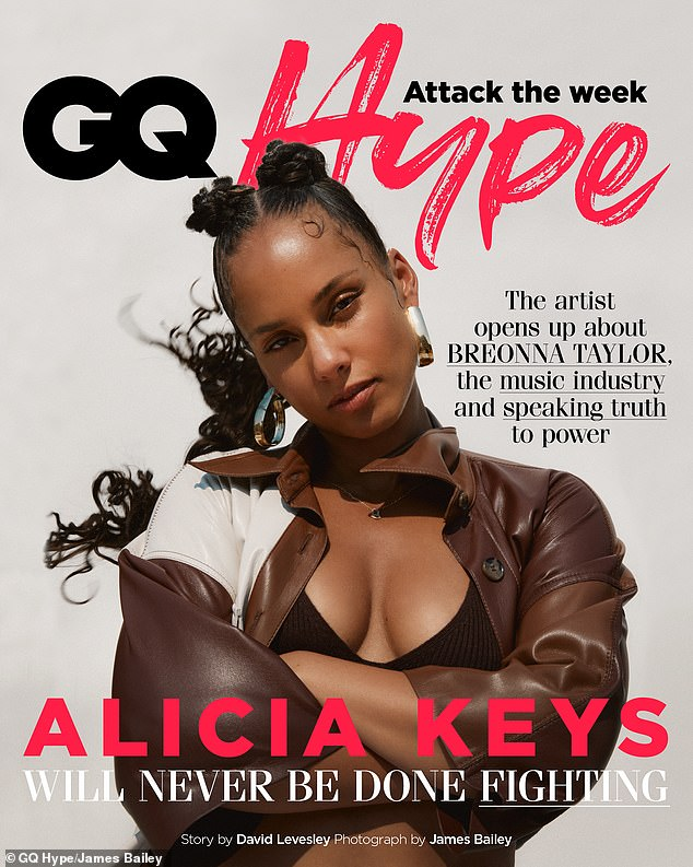 Speaking out:Alicia Keys has discussed the handling of Breonna Taylor 's case and vowed to 'continue to speak out' in a new interview with GQ Hype
