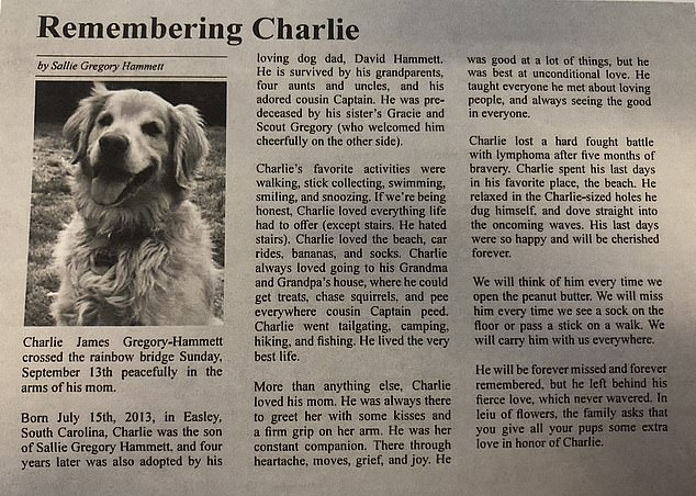 Moving tribute: Sallie Gregory Hammet, 30, from Greenville, South Carolina, penned an obituary for her beloved dog Charlie after the seven-year-old lost his battle with lymphoma