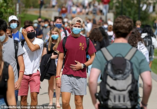 Hundreds of US colleges had to walk back their plans for in-person learning weeks after welcoming students back as poor adherence to social distancing and mask-wearing triggered outbreaks of coronavirus (file)