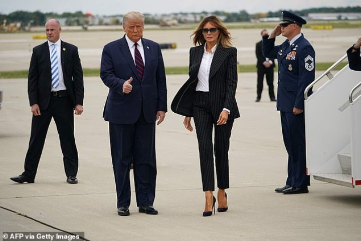 President Trump and first lady Melania Trump arrive in Cleveland for the first presidential debate