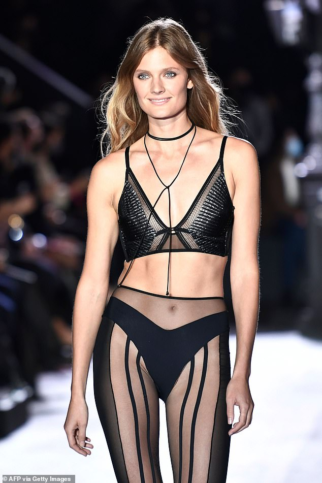 Wow: Constance later changed into a bondage-inspired bra as she modelled the new range