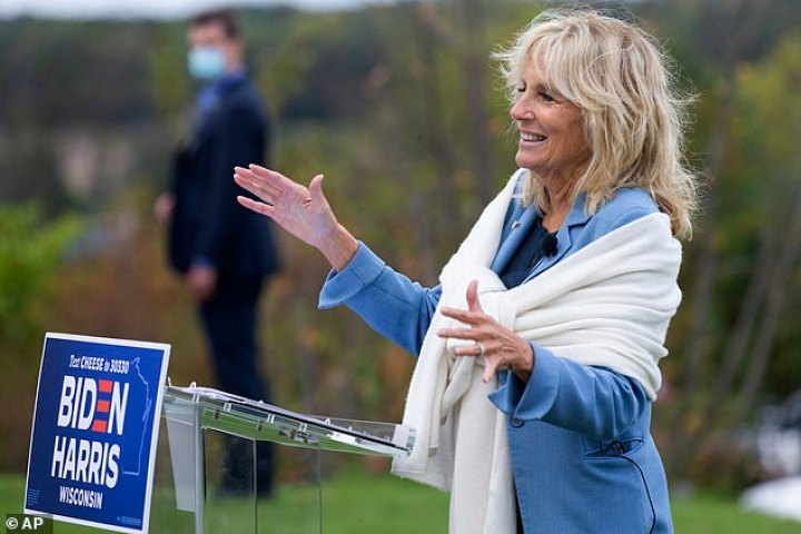 Jill Biden spent Tuesday campaigning in Michigan and will join her husband in Cleveland