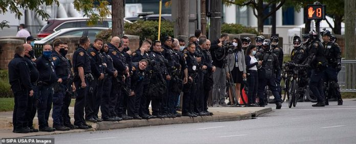 Police line the streets in Cleveland