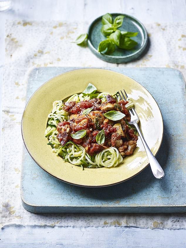 Tomato & basil chicken courgette spaghetti