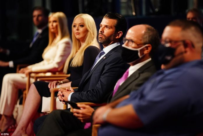 Members of the Trump family (L-R) Eric Trump, Ivanka Trump, Tiffany Trump and Donald Trump Jr. in the audience shortly before US President Donald J. Trump and Democratic presidential candidate Joe Biden participate in the first 2020 presidential election debate