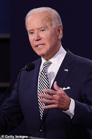 Democratic presidential candidate Joe Biden spoke from the podium in Cleveland on Tuesday