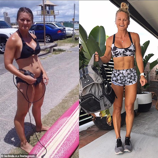 Mother-of-two Belinda Norton, from the Gold Coast, Queensland, abandoned excessive cardio training for weights while also transforming her diet over the past two decades, losing 20 kilos in the process