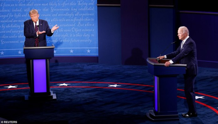U.S. President Donald Trump gestures as he participates in the first 2020 presidential campaign debate with Democratic presidential nominee Joe Biden