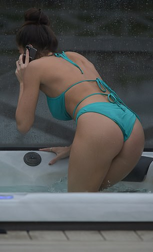 Wow! The reality personality showcased her incredible figure in a turquoise bikini, which featured a halter neck top teamed with a pair of matching skimpy bottoms