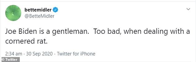 Bette Midler labelled Joe Biden as a 'gentleman' who was 'dealing with a cornered rat'