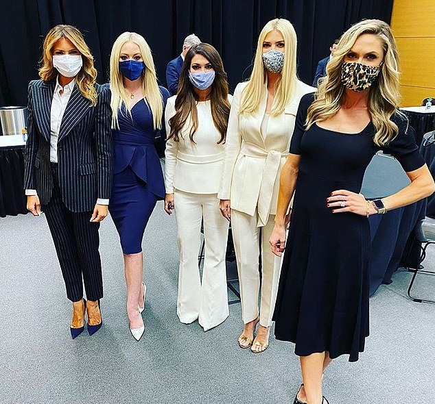 Influencers! The First Lady, 50, also appeared in another social media snap with the three women, as well as Don Jr's longtime partner Kimberly Guilfoyle, as they waited backstage