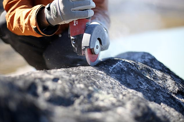 Scientists collect samples from boulders in Greenland. These samples contain chemical isotopes that can help scientists determine the ancient boundaries of the ice sheet
