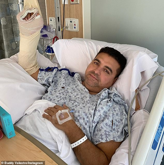 'It's definitely going to be a long road to recovery': The 43-year-old Jersey Boy is now looking at months of physical therapy to repair the nerve, tendon, and muscle damage he sustained on September 20 while tinkering with a malfunctioning pinsetter (pictured September 23)