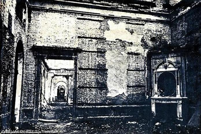 The remains of the amber chamber after it was seized by the Nazis, who packed the amber panels in 27 crates and shipped them to Germany, where they disappeared and have not been seen since