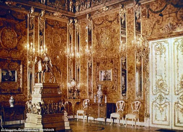 The Amber Chamber (pictured in Russia in 1917), which was filled with precious amber, gold and jewelry, was looted by the Nazis in 1941 and its contents mysteriously disappeared in 1945