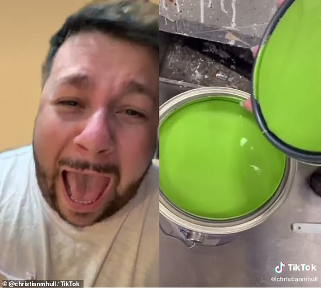 Who could've guessed! He's caught off-guard to see a bright neon green when the can is opened