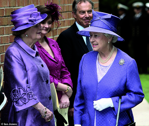 Margaret Thatcher (pictured left) and the Queen attend a memorial service to mark the 25th anniversary of the end of the Falklands War in 2007