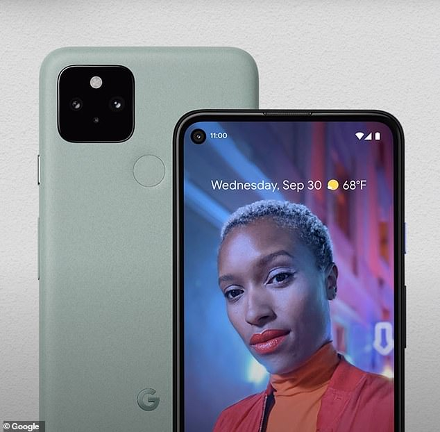 The Pixel 5 (pictured) comes in black, like the 4a, but also this rather ghastly 'sage green'