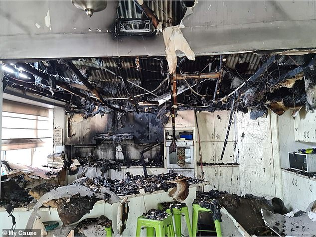 A 15-year-old Sydney schoolgirl accidentally burned her family home down (pictured) after a fire erupted while she was trying to cook fried chips on Tuesday night