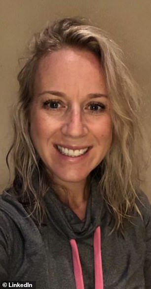 Keeping it real! Lauren Griffiths, 39, from North Carolina, changed her professional LinkedIn photo to a picture of herself wearing a sweatshirt while working from home