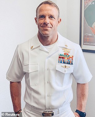 The move sparked fury from disgraced ex SEAL Eddie Gallagher, who labeled the move 'a joke'. Gallagher was was acquitted of murdering the ISIS prisoner following a high-profile trial which saw Donald Trump wade into the debate