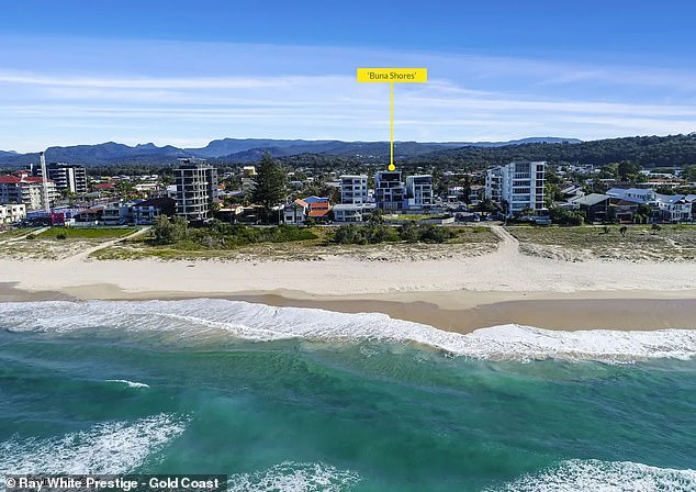 Nick Matthews scored the Gold Coast beach-side complex (pictured) in May after purchasing a $5 ticket for the RSL Art Union