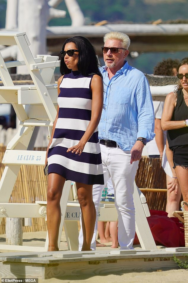 Feud:Lilian (pictured with Boris) had been seen wrapping her arms around the tennis legend's son while they waded in the ocean earlier during their holiday