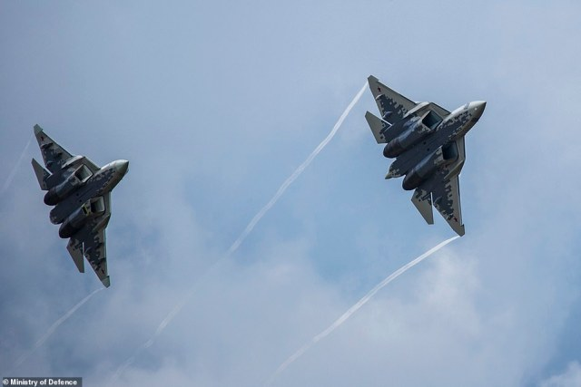 Russia's Su-57 fighter jets, pictured at a military show in 2018, are joining a fleet of more than 1,500 combat jets in an air force which has been heavily upgraded