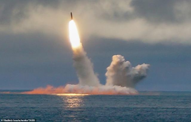 The Borei-class nuclear-powered submarine K-535 Yuri Dolgoruky launches an RSM-56 Bulava ballistic missile in the Barents Sea in August last year
