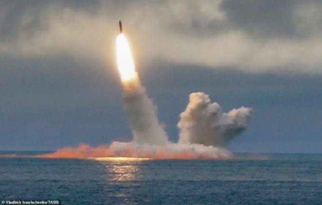 The Borei-classnuclear-powered submarine K-535 Yuri Dolgoruky launches an RSM-56 Bulava ballistic missile in the Barents Sea in August last year