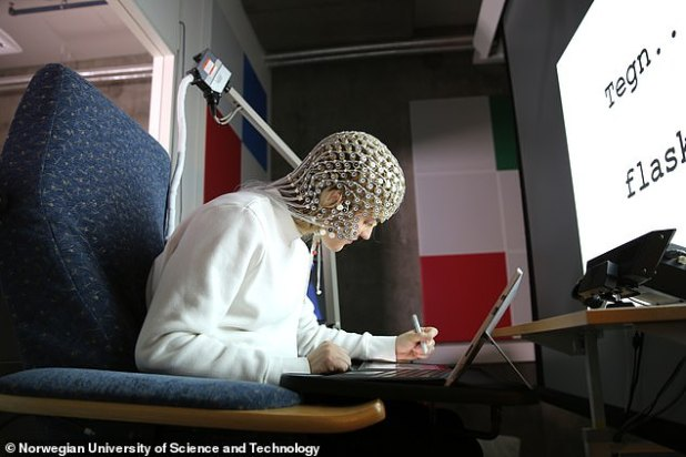 The EEG was used to track and record brain wave activity using a hood fitted with more than 250 electrodes attached to the outer lining.  The data showed increased activity in the sensorimotor parts of the brain, involved with processing, attention, and language