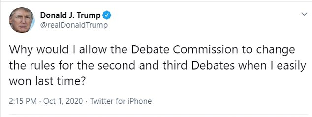 The Trump campaign firmly came out against any rule changes for the second and third debate, following up Trump's tweet with a press call where they suggested the Commission on Presidential Debates was biased in favor of Joe Biden