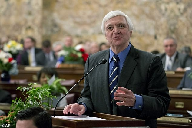Pennsylvania House Minority Leader Frank Dermody, D-Allegheny, speaks Tuesday, Jan. 6, 2015, at the state Capitol in Harrisburg, Pa. He has raised alarms about a new GOP-run 'election integrity' committee
