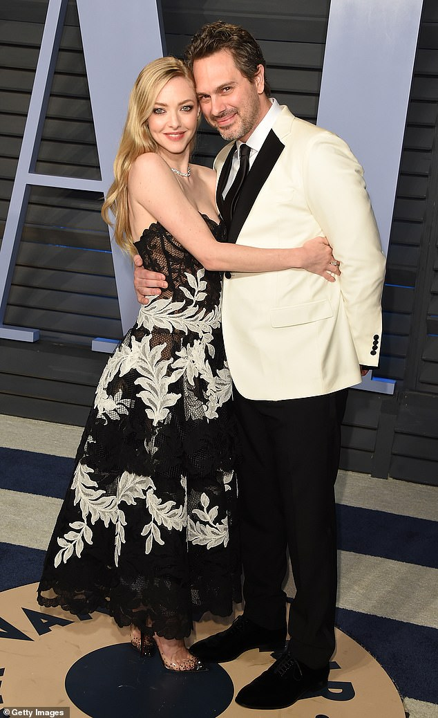 In love: Seyfriend and Sadoski, pictured in 2018, started dating after meeting on the 2016 set of the dramatic comedy The Last Word, released in 2017