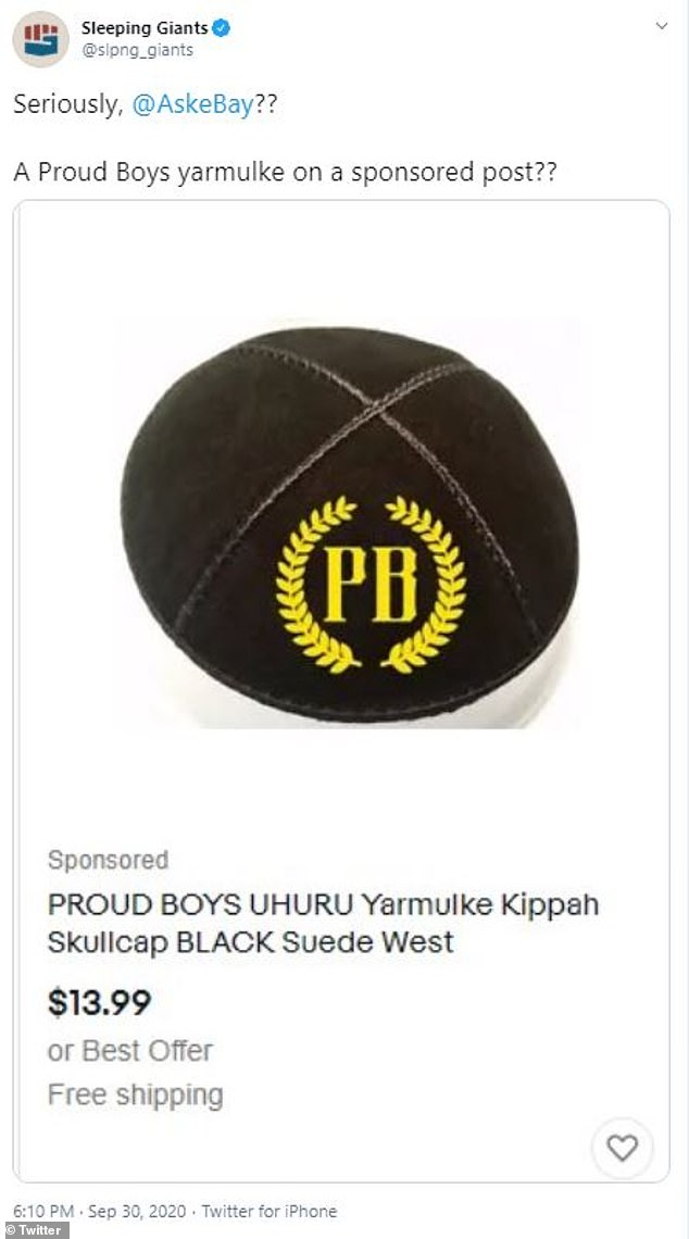 Internet users were also left outraged after spotting a Jewish yarmulke emblazoned with the initials 'PB' for sale on eBay