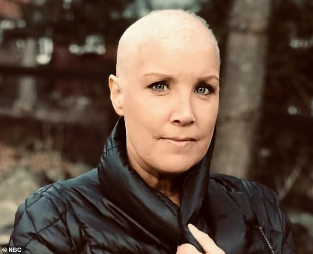 Looking back: Dahlgren, pictured after chemotherapy, was diagnosed with stage 2 breast cancer in September 2019