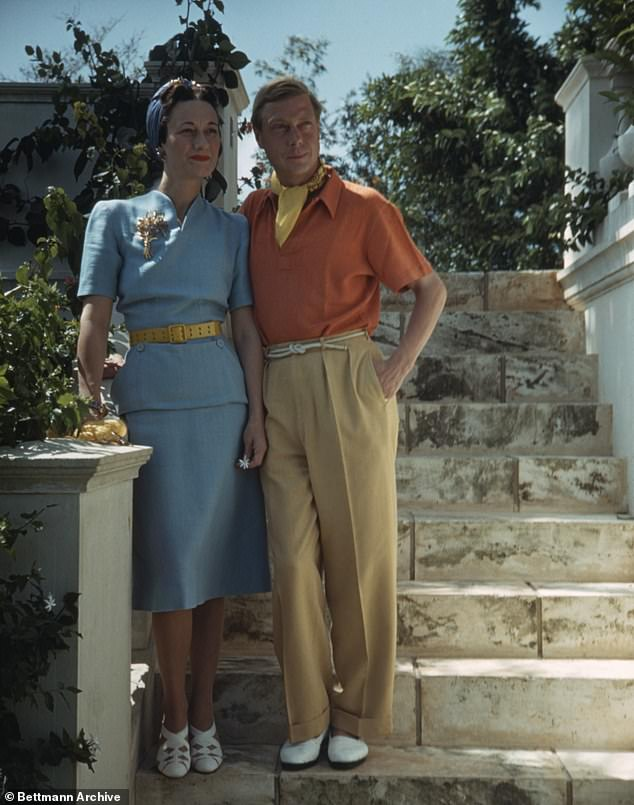 Edward VIII's abdication in order to marry American divorcee Wallace Simpson was seen as the greatest crisis for the monarchy in the 20th century. Pictured: The Duke and Duchess of Windsor standing on stone steps in Miami in 1941