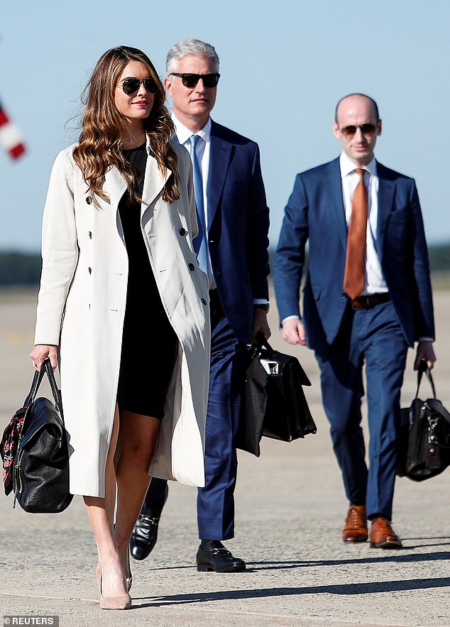 Hicks is one of Trump's closest aides and reportedly has symptoms of the virus, although there is no indication Trump has been infected. She is pictured on September 21