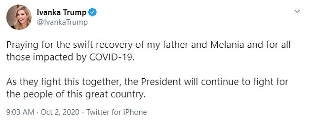 Best wishes: Ivanka tweeted kind words to her father and Melania after being photographed en route to the White House, but she did not speak about her own health in the post