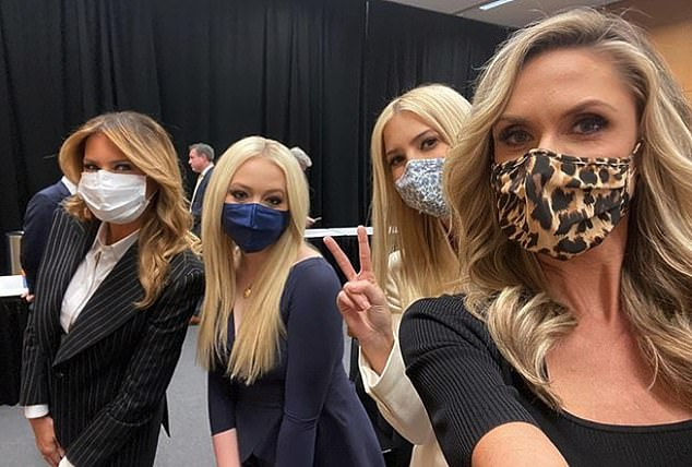 September 29: On the night of the debate, Ivanka posed for a backstage selfie with her stepmom Melania, who also tested positive.  Both wore masks in the image