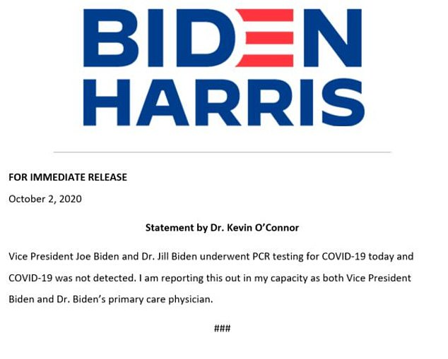 The Biden campaign sent out a memo from Joe and Jill Biden's primary care physician that said COVID-19 was 'not detected'