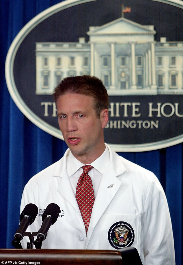 Presidential Physician Dr. Richard Tubb briefs the press on the colonoscopy exam President George W. Bush underwent 29 JUNE 2002 at the Camp David Presidential retreat from the Briefing Room of the White House in Washington, DC. There was no White House briefing Friday after Donald Trump said he had tested positive for the coronavirus