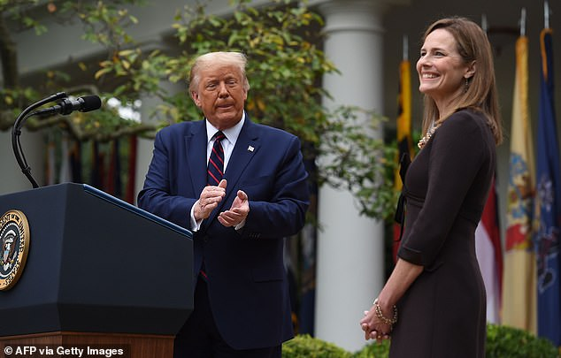 Amy Coney Barrett is pictured during her nomination hearing in the Rose Garden on Saturday