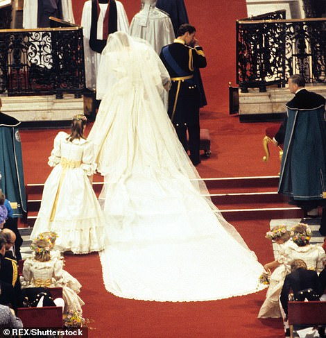 Wedding bells: It showed Emma's Diana dressed in her iconic David Emmanuel wedding gown (pictured in 1981)