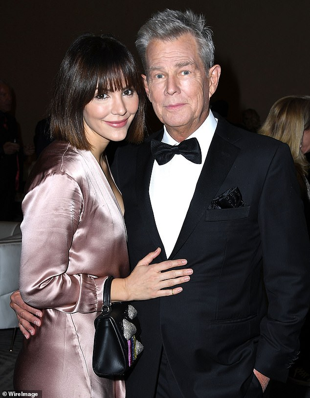 Like family: Sources previously reported the Sussexes would be spending Christmas with Canadian record producer David Foster, 70, and his wife Katharine McPhee, 36, (pictured in 2018)