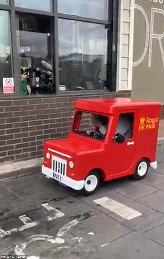Prankster Alton Tyrell, 40, from Heckmondwike, West Yorkshire, has delighted locals with his fun-loving antics after buying a coin-operated children's ride and welding it to a mobility scooter (pictured)