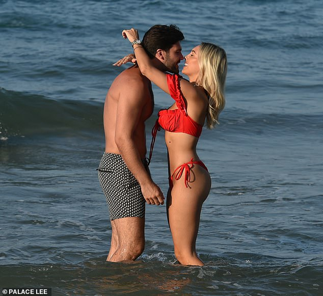 Wow!It's no wonder Dan couldn't keep his eyes off the TOWIE star, 27, who looked sensational in a frilly red bikini, which lighted her toned frame to perfection