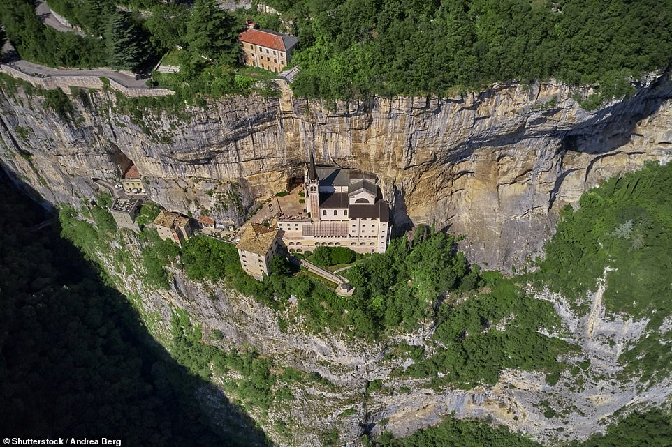 The Santuario Madonna della Corona (or Sanctuary of the Lady of the Crown), which is built into the side of Mount Baldo