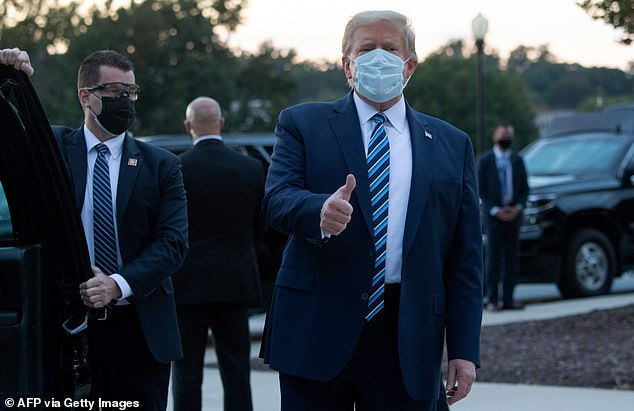 Trump is seen leaving Walter Reed Hospital on Monday evening.  Kloots urged him to use his newfound first-hand knowledge of the virus to empathize with the American people