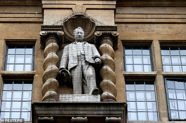 Reviews into statues such as Cecil Rhodes at Oxford University's Oriel College (pictured) and Thomas Guy - the founder of Guy's Hospital in Southwark, south London - are also being carried out